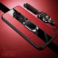 Custodia Silicone Morbida In Pelle Cover con Magnetico Anello Supporto per Vivo S1 Pro Rosso
