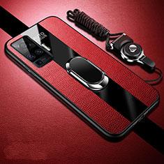 Custodia Silicone Morbida In Pelle Cover con Magnetico Anello Supporto per Vivo X50 Pro 5G Rosso