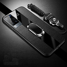 Custodia Silicone Morbida In Pelle Cover con Magnetico Anello Supporto per Vivo X60 5G Nero