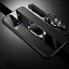 Custodia Silicone Morbida In Pelle Cover con Magnetico Anello Supporto per Vivo X60 Pro 5G Nero