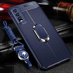 Custodia Silicone Morbida In Pelle Cover con Magnetico Anello Supporto per Vivo Y12s Blu