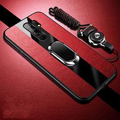 Custodia Silicone Morbida In Pelle Cover con Magnetico Anello Supporto per Xiaomi Redmi 9 Prime India Rosso