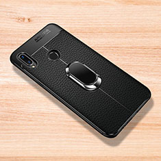 Custodia Silicone Morbida In Pelle Cover con Magnetico Anello Supporto per Xiaomi Redmi Note 7 Nero