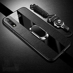 Custodia Silicone Morbida In Pelle Cover con Magnetico Anello Supporto S01 per Huawei Enjoy 10 Nero
