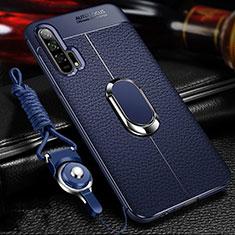 Custodia Silicone Morbida In Pelle Cover con Magnetico Anello Supporto S01 per Huawei Honor 20 Pro Blu