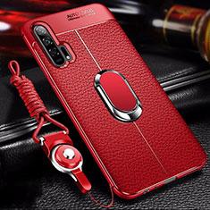 Custodia Silicone Morbida In Pelle Cover con Magnetico Anello Supporto S01 per Huawei Honor 20 Pro Rosso