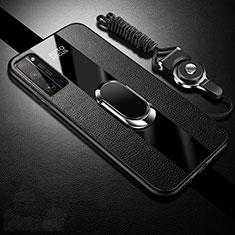 Custodia Silicone Morbida In Pelle Cover con Magnetico Anello Supporto S01 per Huawei Honor 30 Pro Nero