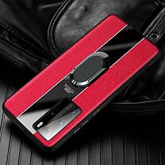 Custodia Silicone Morbida In Pelle Cover con Magnetico Anello Supporto S01 per Huawei Honor 30 Rosso