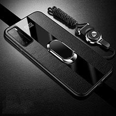 Custodia Silicone Morbida In Pelle Cover con Magnetico Anello Supporto S01 per Huawei Honor Play4 5G Nero