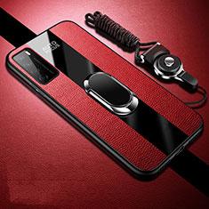 Custodia Silicone Morbida In Pelle Cover con Magnetico Anello Supporto S01 per Huawei Honor Play4 5G Rosso