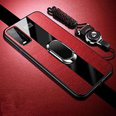Custodia Silicone Morbida In Pelle Cover con Magnetico Anello Supporto S01 per Vivo Y12s Rosso