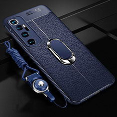 Custodia Silicone Morbida In Pelle Cover con Magnetico Anello Supporto S01 per Xiaomi Mi 10 Ultra Blu