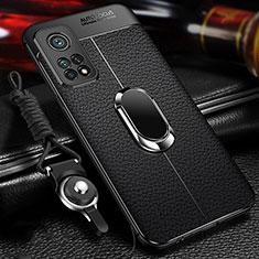 Custodia Silicone Morbida In Pelle Cover con Magnetico Anello Supporto S01 per Xiaomi Mi 10T 5G Nero