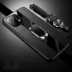 Custodia Silicone Morbida In Pelle Cover con Magnetico Anello Supporto S01 per Xiaomi Mi 11 5G Nero