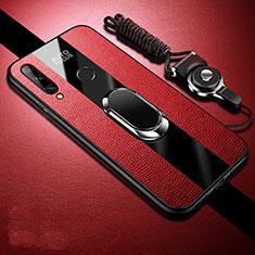 Custodia Silicone Morbida In Pelle Cover con Magnetico Anello Supporto S02 per Huawei Enjoy 10 Plus Rosso