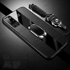 Custodia Silicone Morbida In Pelle Cover con Magnetico Anello Supporto S02 per Huawei Honor Play4 Pro 5G Nero