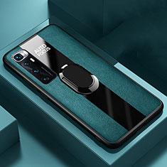 Custodia Silicone Morbida In Pelle Cover con Magnetico Anello Supporto S02 per Xiaomi Mi 10 Ultra Verde