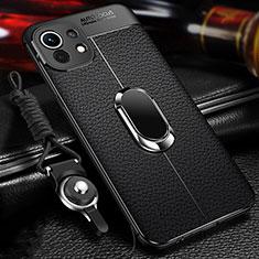 Custodia Silicone Morbida In Pelle Cover con Magnetico Anello Supporto S02 per Xiaomi Mi 11 5G Nero