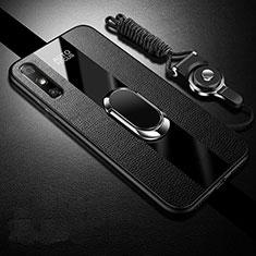 Custodia Silicone Morbida In Pelle Cover con Magnetico Anello Supporto S03 per Huawei Enjoy 10e Nero