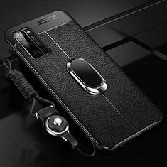 Custodia Silicone Morbida In Pelle Cover con Magnetico Anello Supporto S03 per Huawei Honor 30 Pro Nero