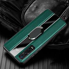 Custodia Silicone Morbida In Pelle Cover con Magnetico Anello Supporto S03 per Oppo Find X2 Pro Verde