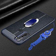 Custodia Silicone Morbida In Pelle Cover con Magnetico Anello Supporto S03 per Xiaomi Redmi Note 8 Blu