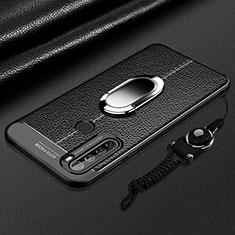 Custodia Silicone Morbida In Pelle Cover con Magnetico Anello Supporto S03 per Xiaomi Redmi Note 8 Nero
