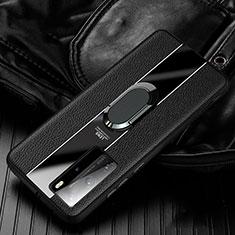 Custodia Silicone Morbida In Pelle Cover con Magnetico Anello Supporto S04 per Huawei P40 Pro Nero