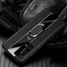 Custodia Silicone Morbida In Pelle Cover con Magnetico Anello Supporto S04 per Huawei P40 Pro+ Plus Nero