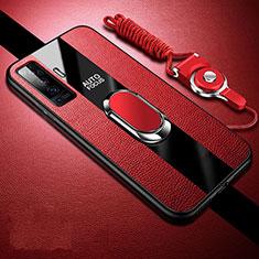Custodia Silicone Morbida In Pelle Cover con Magnetico Anello Supporto S04 per Vivo X50 5G Rosso