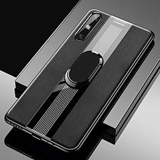 Custodia Silicone Morbida In Pelle Cover con Magnetico Anello Supporto S05 per Huawei Enjoy 10e Nero