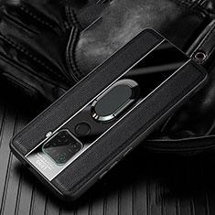 Custodia Silicone Morbida In Pelle Cover con Magnetico Anello Supporto S05 per Huawei Mate 30 Lite Nero