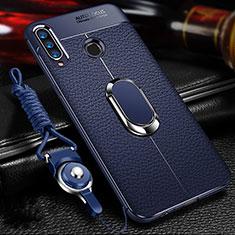 Custodia Silicone Morbida In Pelle Cover con Magnetico Anello Supporto T01 per Huawei Honor 20 Lite Blu