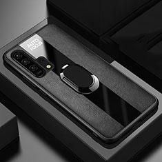 Custodia Silicone Morbida In Pelle Cover con Magnetico Anello Supporto T01 per Huawei Honor 20 Pro Nero