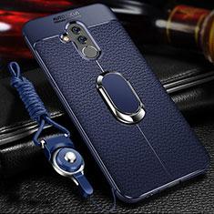 Custodia Silicone Morbida In Pelle Cover con Magnetico Anello Supporto T01 per Huawei Mate 20 Lite Blu