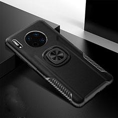 Custodia Silicone Morbida In Pelle Cover con Magnetico Anello Supporto T01 per Huawei Mate 30 Nero