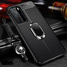 Custodia Silicone Morbida In Pelle Cover con Magnetico Anello Supporto T01 per Huawei P40 Pro Nero
