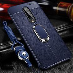 Custodia Silicone Morbida In Pelle Cover con Magnetico Anello Supporto T01 per OnePlus 8 Blu