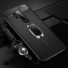 Custodia Silicone Morbida In Pelle Cover con Magnetico Anello Supporto T01 per OnePlus 8 Pro Nero