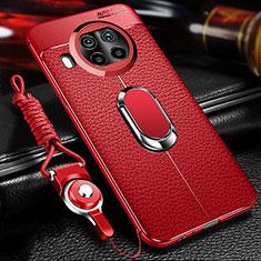 Custodia Silicone Morbida In Pelle Cover con Magnetico Anello Supporto T01 per Xiaomi Mi 10T Lite 5G Rosso