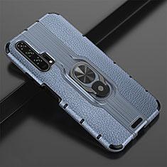 Custodia Silicone Morbida In Pelle Cover con Magnetico Anello Supporto T02 per Huawei Honor 20 Pro Blu