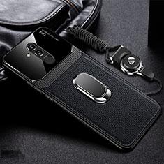 Custodia Silicone Morbida In Pelle Cover con Magnetico Anello Supporto T02 per Huawei Mate 20 Lite Nero