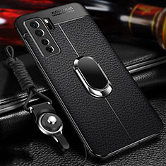 Custodia Silicone Morbida In Pelle Cover con Magnetico Anello Supporto T02 per Huawei Nova 7 SE 5G Nero