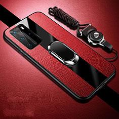 Custodia Silicone Morbida In Pelle Cover con Magnetico Anello Supporto T02 per Huawei P40 Pro Rosso