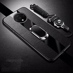 Custodia Silicone Morbida In Pelle Cover con Magnetico Anello Supporto T02 per OnePlus 7T Nero