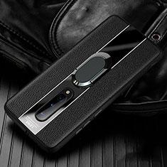 Custodia Silicone Morbida In Pelle Cover con Magnetico Anello Supporto T02 per OnePlus 8 Nero