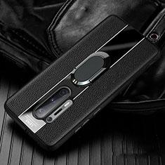 Custodia Silicone Morbida In Pelle Cover con Magnetico Anello Supporto T02 per OnePlus 8 Pro Nero