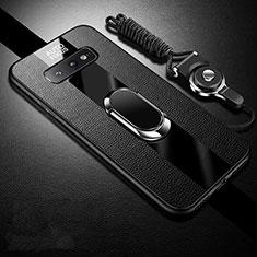 Custodia Silicone Morbida In Pelle Cover con Magnetico Anello Supporto T02 per Samsung Galaxy S10e Nero