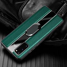 Custodia Silicone Morbida In Pelle Cover con Magnetico Anello Supporto T02 per Samsung Galaxy S20 5G Verde