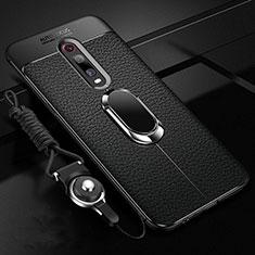 Custodia Silicone Morbida In Pelle Cover con Magnetico Anello Supporto T02 per Xiaomi Mi 9T Pro Nero